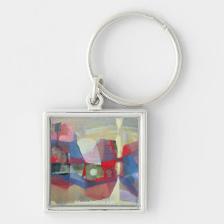 Abstract Landscape Potosi 23.75x18.25 Silver-Colored Square Key Ring