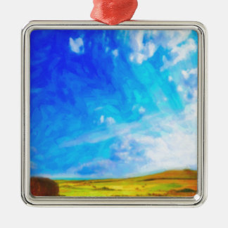 Abstract Landscape Silver-Colored Square Decoration