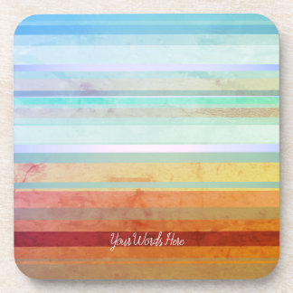 Abstract Landscape Stripes & Your Words Coaster