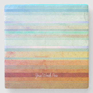 Abstract Landscape Stripes & Your Words Stone Coaster