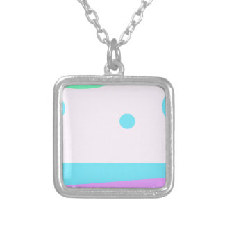 Abstract landscape with 3 Moons - Square Pendant Necklace