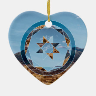 Abstract landscape with geometrical shapes ceramic heart decoration