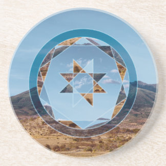 Abstract landscape with geometrical shapes drink coasters
