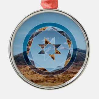 Abstract landscape with geometrical shapes Silver-Colored round decoration