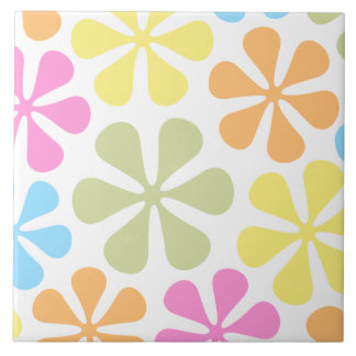 Abstract Large Flowers Bright Color Mix Large Square Tile