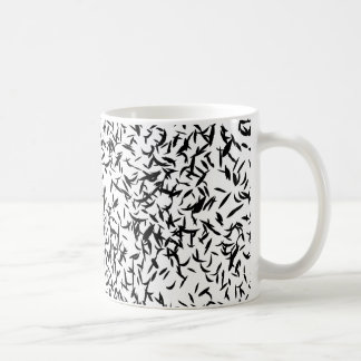 Abstract leaf black and white mug