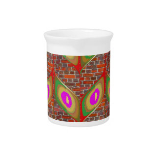 Abstract Leaf design on brickwall pattern pod gift Beverage Pitchers