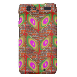 Abstract Leaf design on brickwall pattern pod gift Motorola Droid RAZR Cases