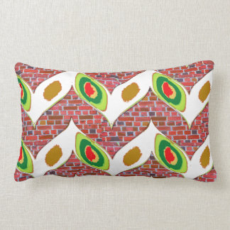 Abstract Leaf design on brickwall pattern pod gift Throw Cushion