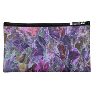 Abstract Leaf Pattern Purple Cosmetic Bag