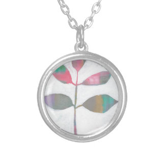 Abstract leaf silver plated necklace