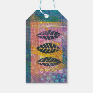 Abstract Leaves Floral Monoprint ART Gift Tag
