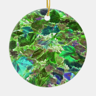 Abstract Leaves Nature Pattern Ceramic Ornament