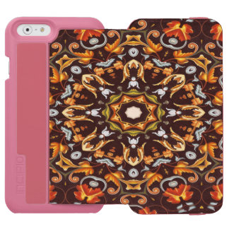 abstract leaves pattern orange brown autumn fall incipio watson™ iPhone 6 wallet case