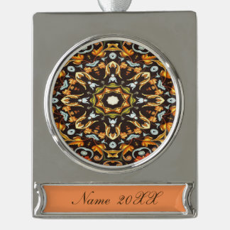 abstract leaves pattern orange brown autumn fall silver plated banner ornament