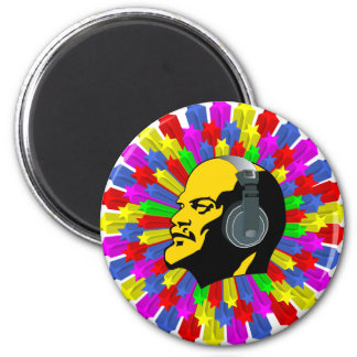 Abstract Lenin Head in Star Circle 6 Cm Round Magnet