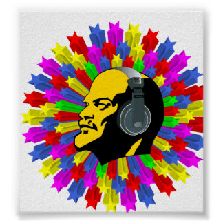 Abstract Lenin Head in Star Circle Posters