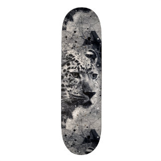 Abstract Leopard Wild Animal Black and White Skateboard