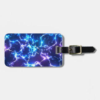 Abstract LIghtning Blue with a tan diamond backx Luggage Tag