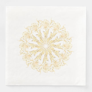 Abstract Lily Gold White Mandala Paper Serviettes