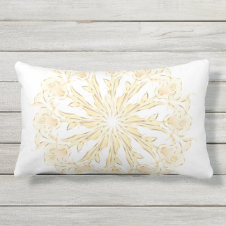 Abstract Lily Mandala Gold White Outdoor Cushion