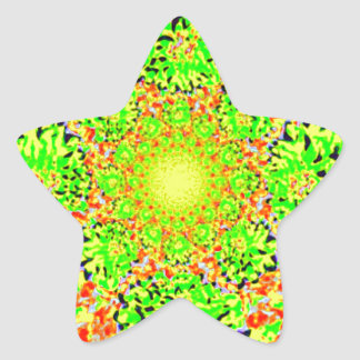 Abstract Lime Green  Floral Dahlia Flower Pattern Star Sticker