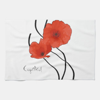Abstract linen of kitchen Poppies Towels