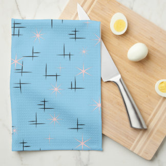 Abstract Lines and Pink Stars Baby Blue Retro Tea Towel