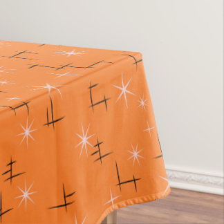Abstract lines and Pink Stars on Orange Retro Tablecloth