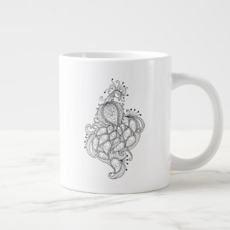Abstract lines design of beautiful peacock large coffee mug