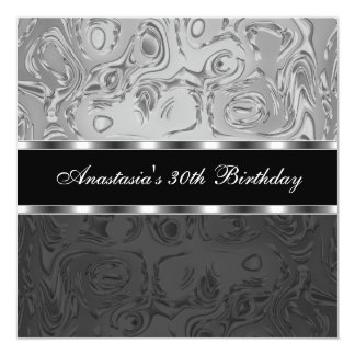 "Abstract Liquid Metal Silver Black 30th Birthday 5.25"" Square Invitation Card"