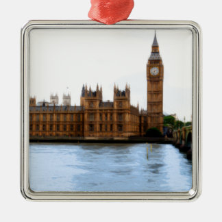 abstract london - westminster Silver-Colored square decoration
