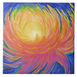 Abstract Lotus Flower Ceramic Tile