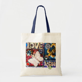 Abstract Love Retro Collage Design Vintage Bags