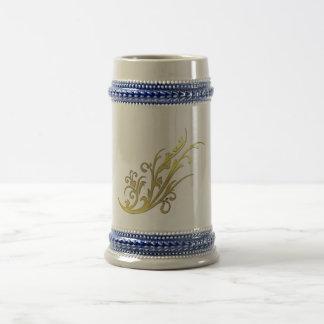 Abstract Luxury Gold Flower Beer Stein