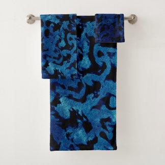 Abstract Magic - Navy Blue Grunge Black Bath Towel Set