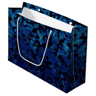 Abstract Magic - Navy Blue Grunge Black Large Gift Bag