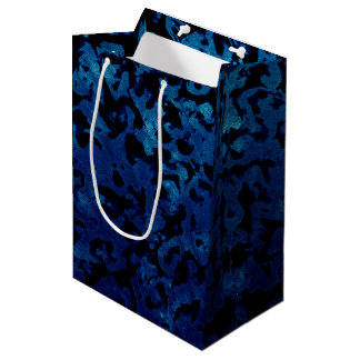 Abstract Magic - Navy Blue Grunge Black Medium Gift Bag