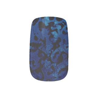 Abstract Magic - Navy Blue Grunge Black Minx Nail Art
