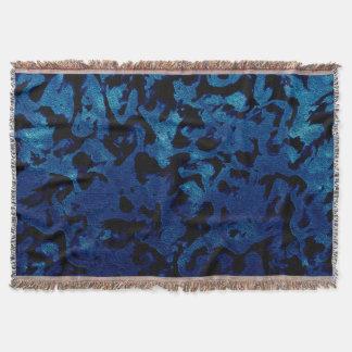 Abstract Magic - Navy Blue Grunge Black Throw Blanket