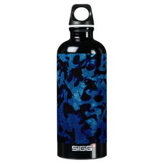 Abstract Magic - Navy Blue Grunge Black Water Bottle