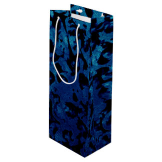 Abstract Magic - Navy Blue Grunge Black Wine Gift Bag
