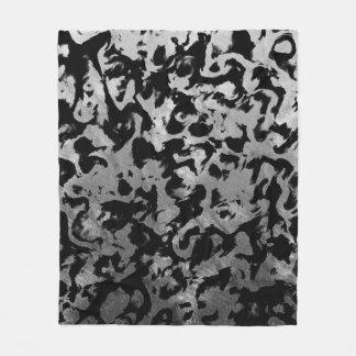 Abstract Magic - Silver Black Fleece Blanket