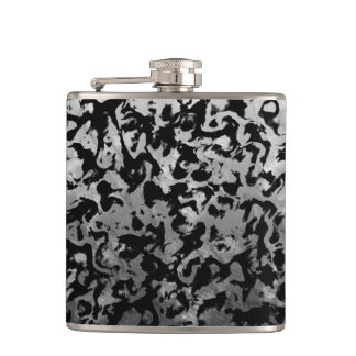 Abstract Magic - Silver Black Hip Flask