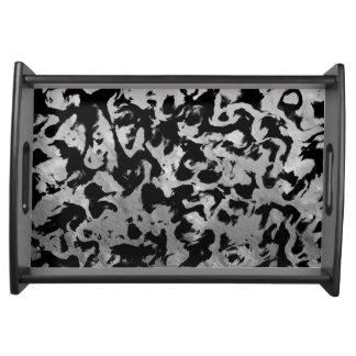 Abstract Magic - Silver Black Serving Tray