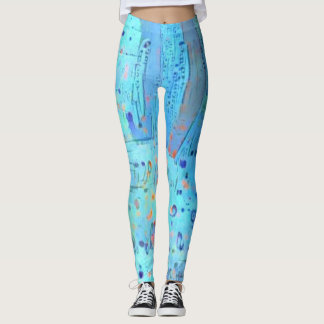 Abstract Magical Blue Leggings