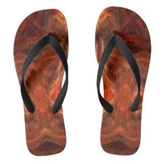 Abstract Mahogany Rust Fractal Pattern FF Thongs