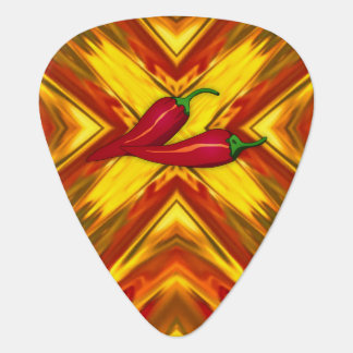 abstract mandala spicy peppers gold red fiery hot plectrum