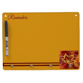 Abstract Maple Leaf Dry Erase Board With Key Ring Holder