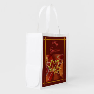 Abstract Maple Leaf Reusable Grocery Bag